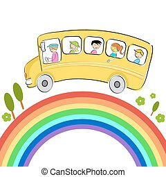 illustration of world tour with bus on rainbow