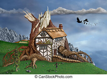 Fantasy Tree House - Magical thatched cottage invaded by an...