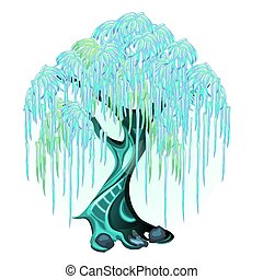 Fantasy tree with glowing neon leaves isolated on white background. Vector cartoon close-up illustration.