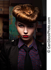 Fantasy. Trendy and Classy Girl Portrait. Glamour