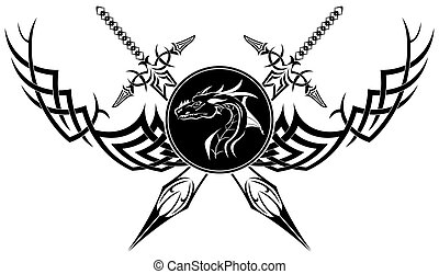 The vector image is black a white symbol in the form of swords of a dragon and patterns