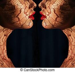 fantasy., twee, vrouwen, gezichten, met, tracery,...