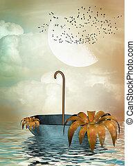 umbrella in the ocean