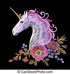 Fantasy unicorn embroidery patch sticker. Pink violet mane horse flower arrange poppy rose ornament. Cartoon badge magic vector illustration art