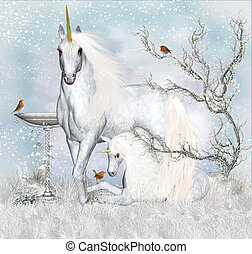 Fantasy Unicorn Winter Holiday Background / Greeting Card