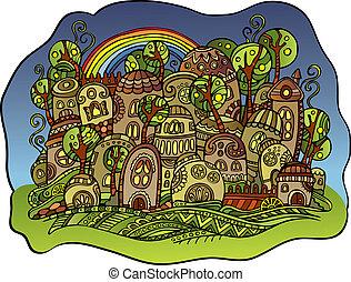 fantasy vector fairy-tale town