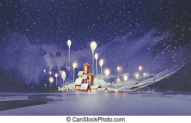 fantasy village in winter - winter landscape with village...