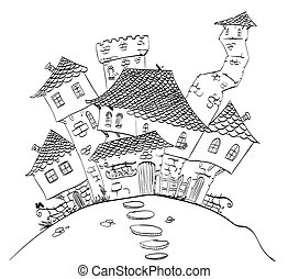 Fantasy Village line drawing - Vector line drawing of a ...