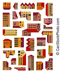 fantasy village map - imaginary illuminated village map with...