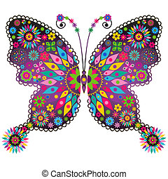 Fantasy spring vintage vivid colorful butterfly with flowers isolated on white (vector)