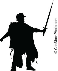 A silhouette of a mythical warrior holding a sword.