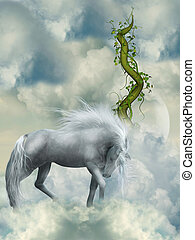 Fantasy white horse in the sky with green branch
