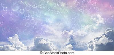 Fantasy Wide Blue Sky and Bubbles - Wide multicolored sky...