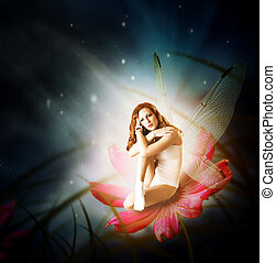 Fantasy. woman as fairy with wings - Fantasy. Magical young...