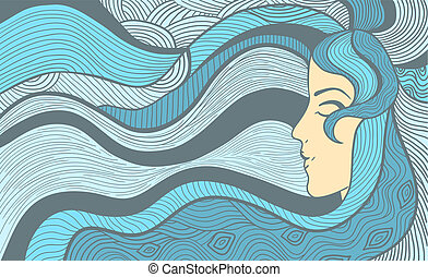 Fantasy woman background - Hand drawn abstract vector...