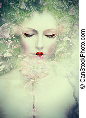 fantasy woman composite - artistic woman portrait, composite...