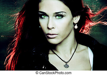 fantasy woman - fantasy woman portrait with red back light,...