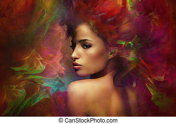 fantasy woman sensation - fantasy colorful beautiful young...