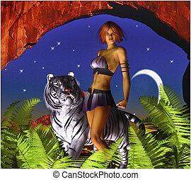 Fantasy Woman with White Tiger