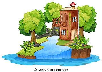 Fantasy woods home scene