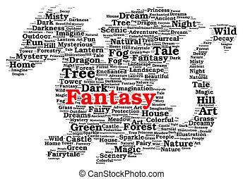 Fantasy word cloud shape concept