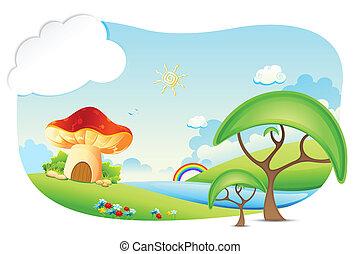 Fantasy World - illustration of fantasy landscape with...