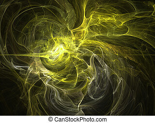 Fantasy yellow chaos abstract fractal effect light background
