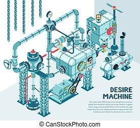 fantasztikus, ipari, isometric, gép, tervezés, bonyolult