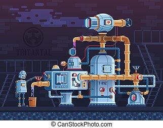 fantasztikus, ipari, steampunk, csövek, robot, gép, bonyolult