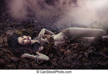 fantasztikus, lövés, közül, érzéki, nő, képben látható, a, leaf's, ágytakaró