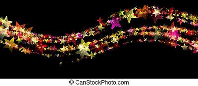 fantasztikus, lenget, izzó, tervezés, csillaggal díszít, ...