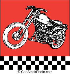 fantasztikus, motocycle, retro, moto, klasszikus, szüret