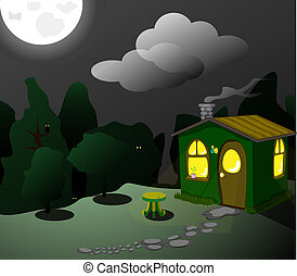fantasztikus, zöld, elhelyez, éjjel
