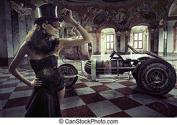 fantazie, šaty, manželka, s, za, vůz