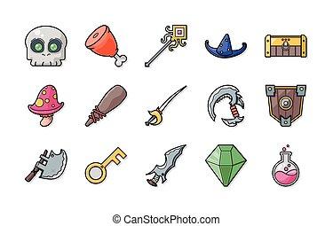 fantazie, hra, ikona, dát