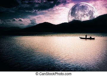 fantazie, krajina, -, měsíc, jezero, a, člun