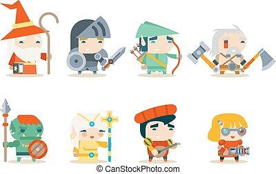 fantazie, rpg, hra, charakter, ikona, dát, vektor, ilustrace