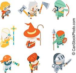 fantazie, rpg, hra, osoby, isometric, vektor, ikona, dát, ilustrace