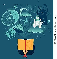 fantazy - Girl reading a giant book, fantasy romantic images...