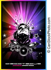 fantino, discoteque, forma, musica, fondo, volantini, disco...
