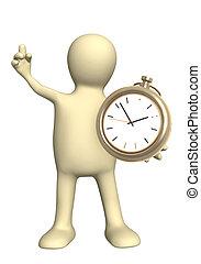 fantoche, com, relógio