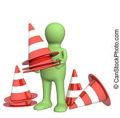 fantoche, cones, emergência, 3d