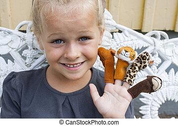 fantoches, dedo, criança
