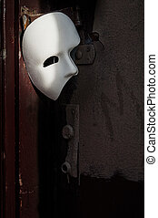 fantom, drzwi, maska maskarady, -, opera, rocznik wina