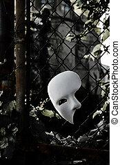 fantom, płot, maska maskarady, -, opera, zardzewiały, chainlink