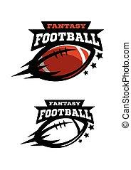 fantsy., football, due, americano, logo., opzioni