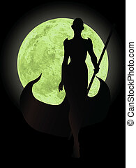 female magician silhouette with mystic fullmoon background the moon is completely round to use in other scenes
