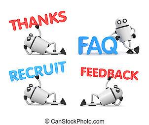 faq, フィードバック, リラックスした, 手掛かり, -, ロボット, イラスト, thanks., 言葉, ポジション, 新兵, 3d