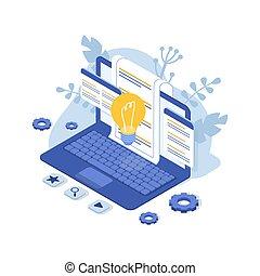 faq., 概念, ベクトル, サポート, us., 顧客, 等大, 連絡, illustration., laptop.