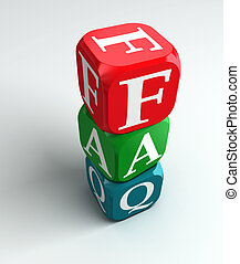 faq 3d colorful buzzword on white background
